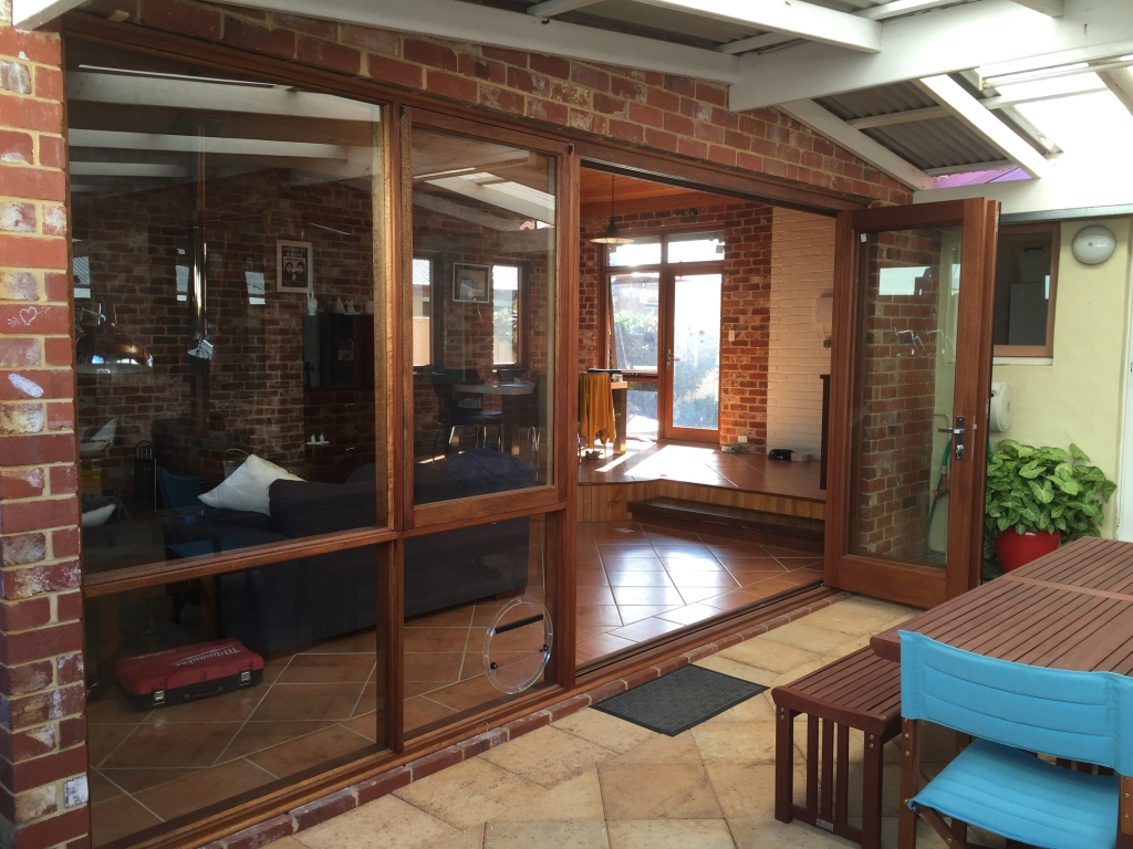 bifold doors with window
